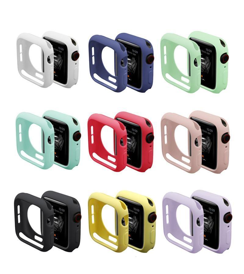 الملونة حالة سيليكون لينة ل أبل ووتش iwatch سلسلة SE 6 5 4 3 2 غطاء حالات حماية كاملة 42 ملليمتر 38 ملليمتر 40 ملليمتر 44 ملليمتر
