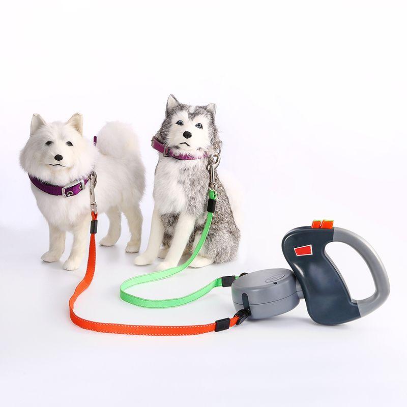 Dual Nylon Chien Chiot Chiot Double Laisses pour chiens à pied rétractable marche en laisse 3 m Longueur Longueur Produits d'animaux de compagnie Fournitures LJ201112