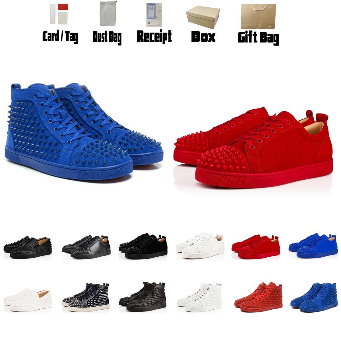 Luxurys Designers Sapatos Vermelho Bottom Couro Homens Sneakers Mulheres Sapatos Treinadores Preto Sapatos Flat Botinhas High Top Sneakers Botas Tamanho US5-US13