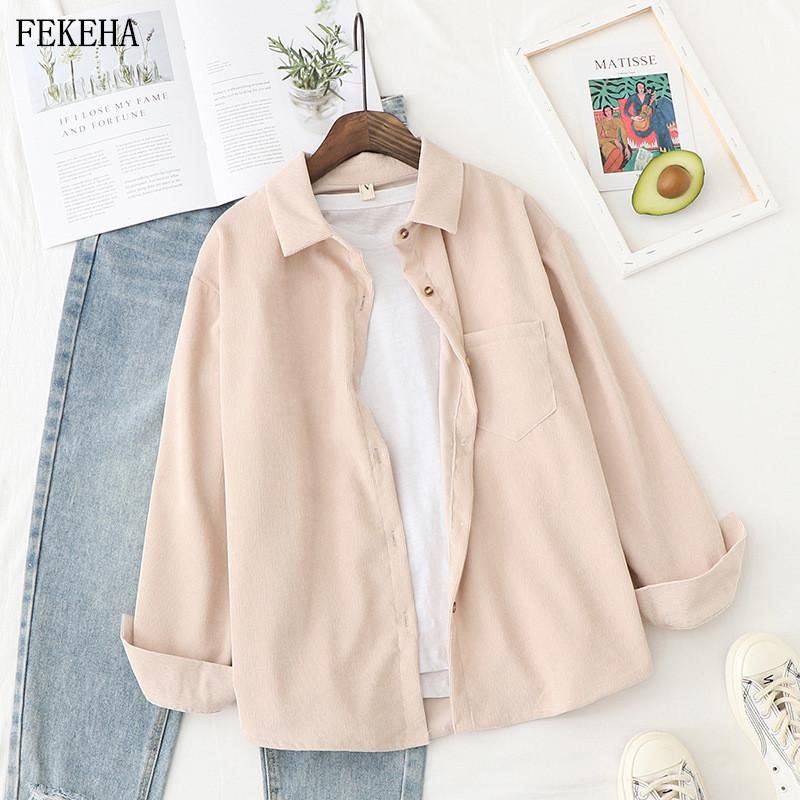 Corduroy Shirts Womens Tops And Blouses Long Sleeve Spring Ladies Solid Loose Boyfriend Style Shirt T200320