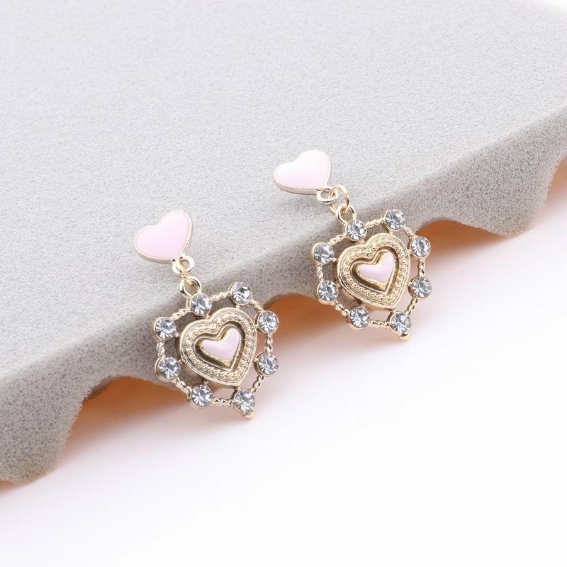Mengjiqiao 2020 novo coreano gota óleo amor coração dangle pendientes para mulheres acessórios de moda rhinestone drop boule d'oreille