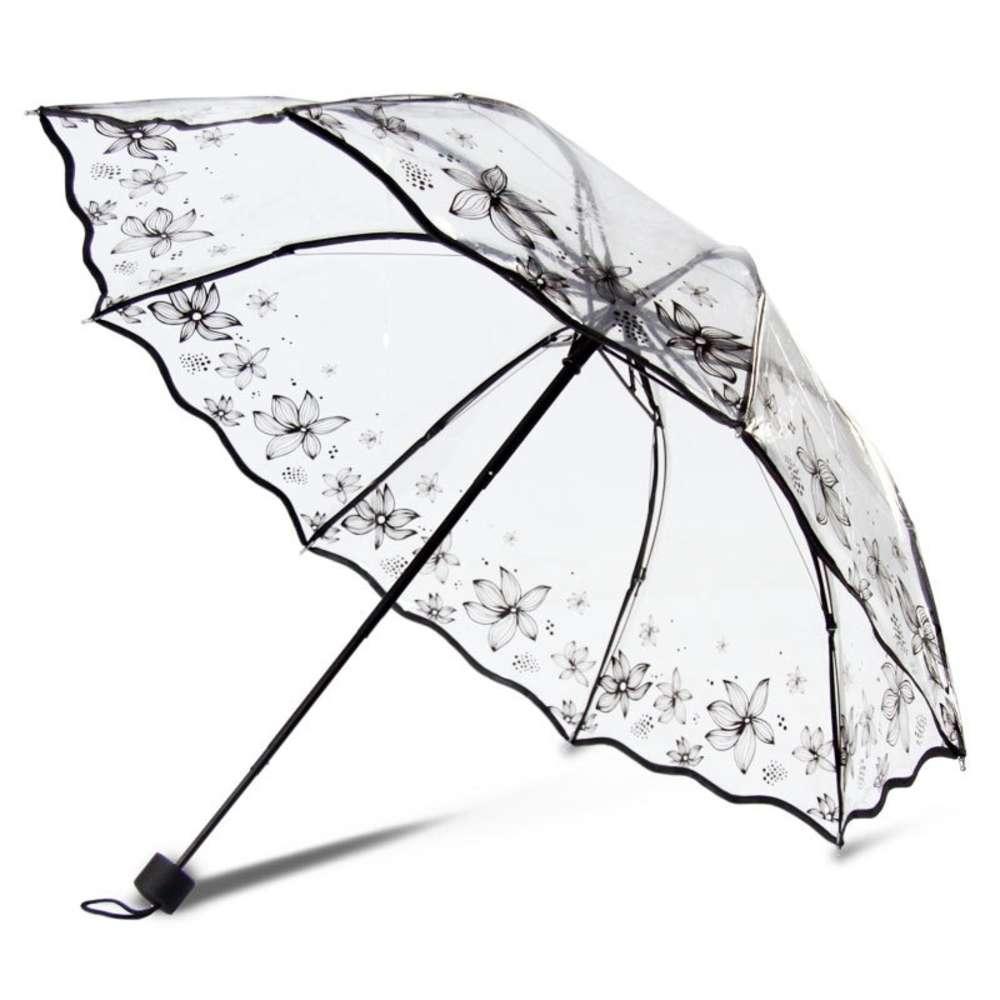Şeffaf Kadın Katlanır Kadın Açık Moda Temizle Iş Yağmur Şemsiyesi Japon Kiraz Blossom Sakura Baskı
