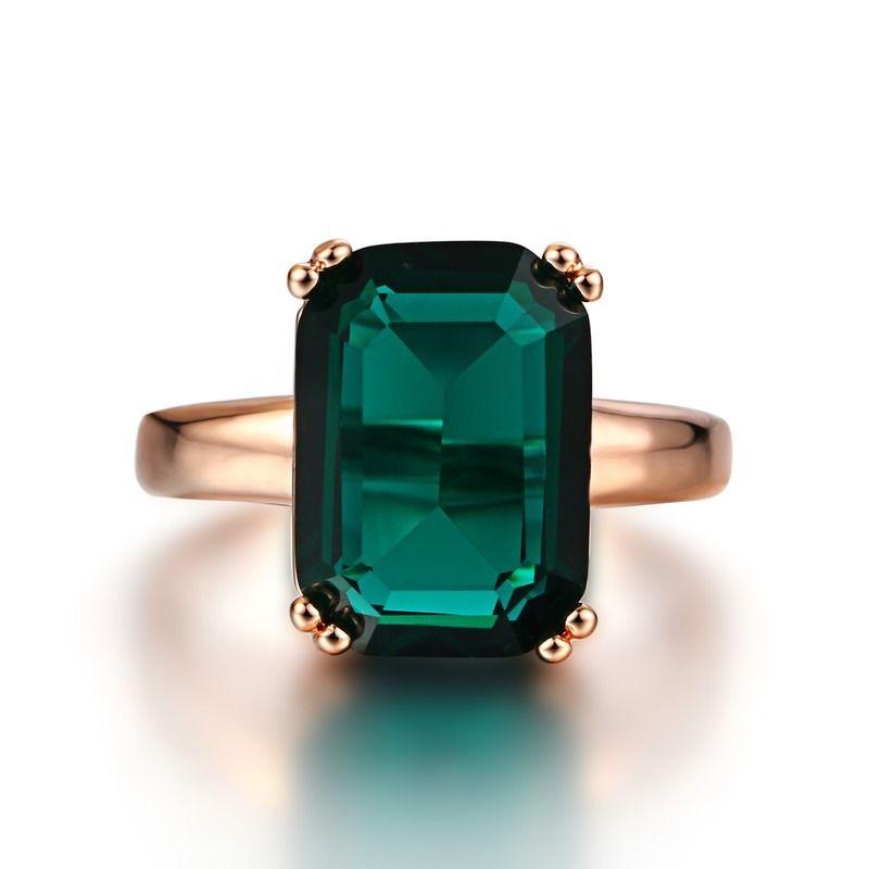 Natürlicher Smaragd Ring Zirkon Diamantringe für Frauen Engagement Eher Ringe mit grünem Edelstein Ring 14k Rose Gold Fine Schmuck Y1119