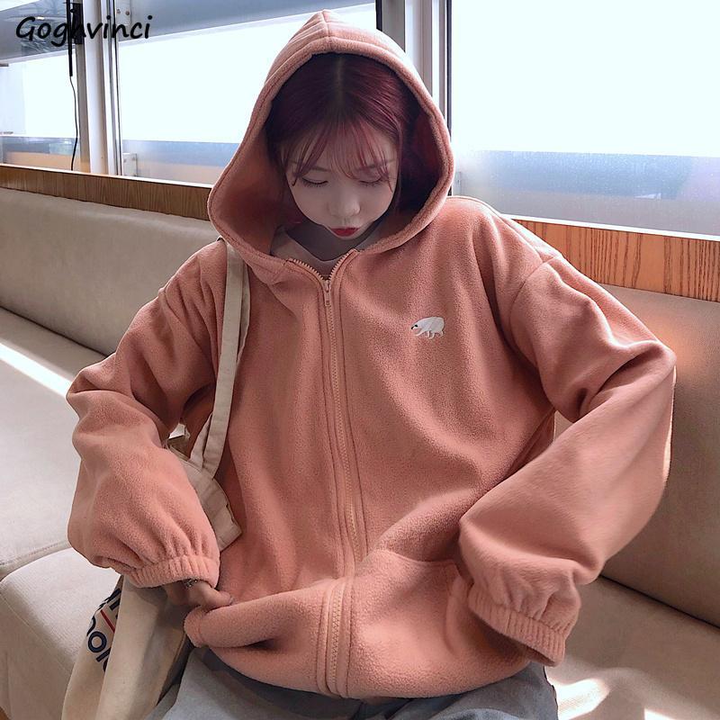 Толстовки женские корейский стиль розовый с длинным рукавом топы женские одежды Zip-up Свободная удобная горячая распродажа Простые женщины Harakuku Hoodie Y200706