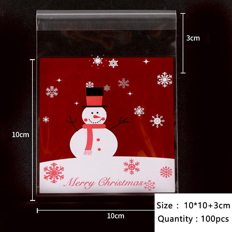50pcs / lot mentleman de Noël dans la foulée de neige tombant de neige rouge de neige cellophane dessert sac de bonhomme de neige Sacs Nougat