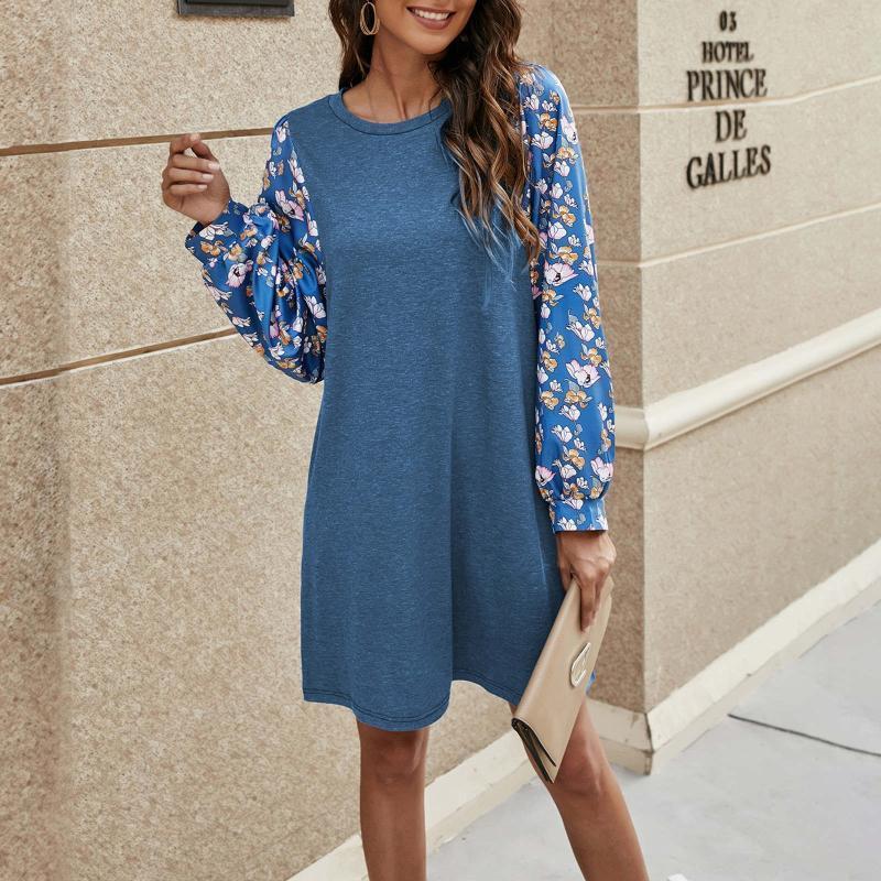 패션 파티 대형 크리스마스 드레스 Womens 랜턴 긴 소매 복고풍 작은 꽃 캐주얼 드레스 # J4S
