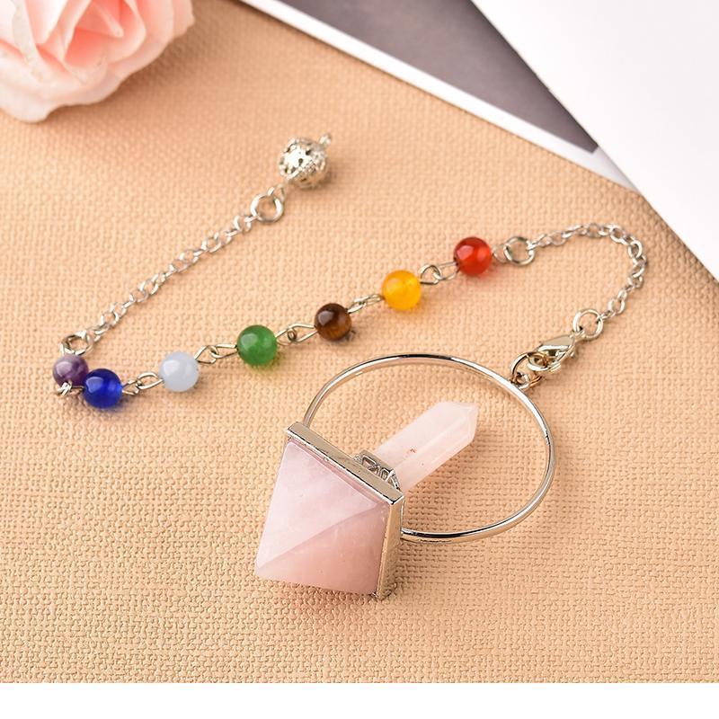 Reiki Healing 7 chakra pendulum cristal natural wicca prisma hexagonal Pyramid piedra para la dowsing Jewelry Mineral Amuleto Qyldni