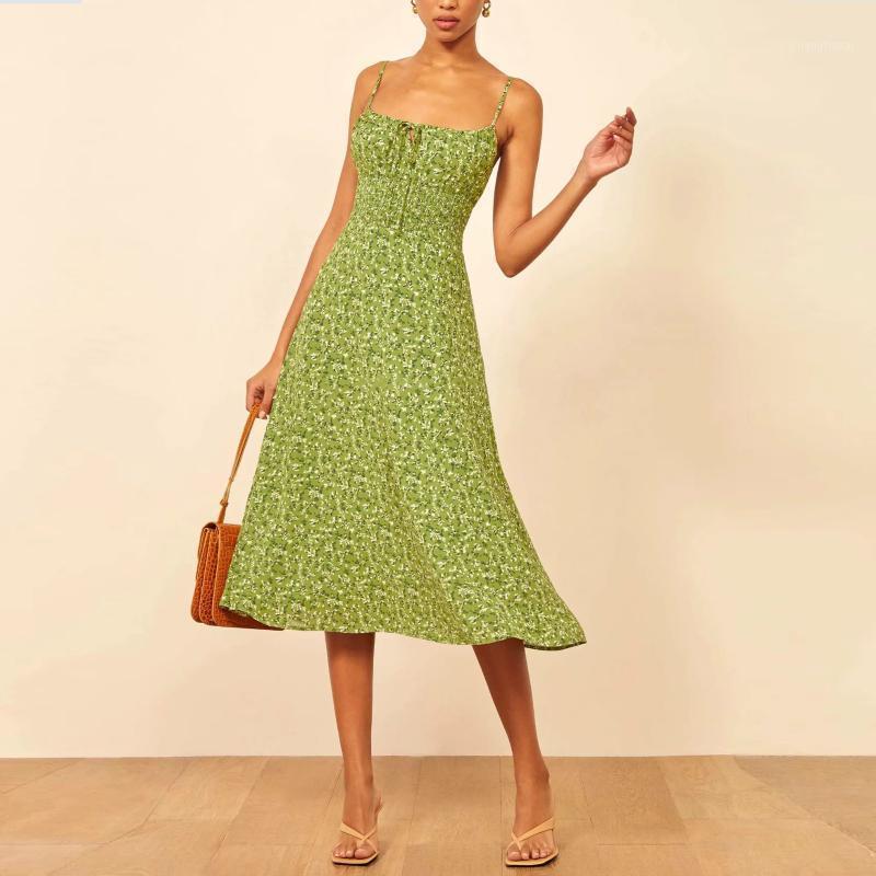 Новые Женщины Зеленые Цветочные напечатанные Maxi Длинное платье Платье Без рукавов Упругое Бюст Элегантный Повседневная Chic Lady Женская Женщина Платья1