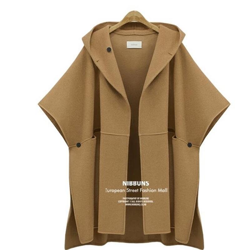 Kadın Yün Ceket Zarif Kış Yün Cape Coat Kadın Pelerin Yün Ceketler Rahat Bölünmüş Streetwear Kapşonlu Pelerin Palto 201210
