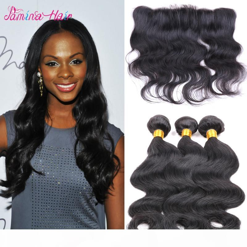 8A brazilian virgin hair bundles with closures 13*4 Lace Frontal Closure Ear To Ear Brazilian Body Wave Hair silky based frontal closure