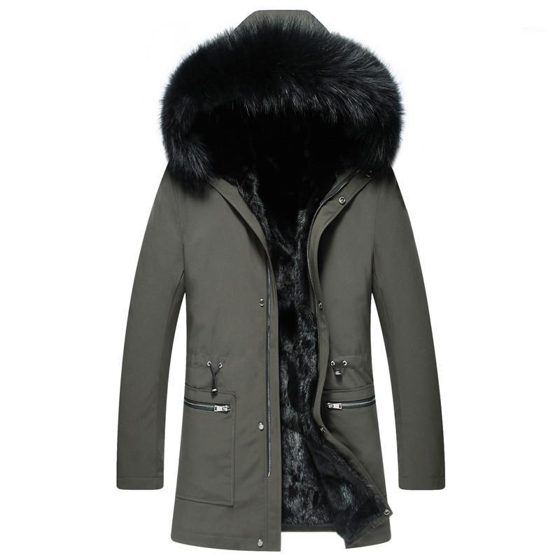 Cappotto di pelliccia reale Men Natural Parka Men's Giacca invernale Abbigliamento 2021 Mens Luxury Warm Jacktes Plus Size SW21 YY8331 Pelle Faux