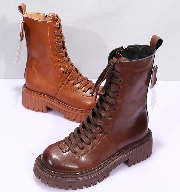 Moda Vintage Botas cortas Botas cortas Mujeres Botas de combate Otoño Plataforma Gótico Zapatos Top Capa Cuero Cuero Motocicleta