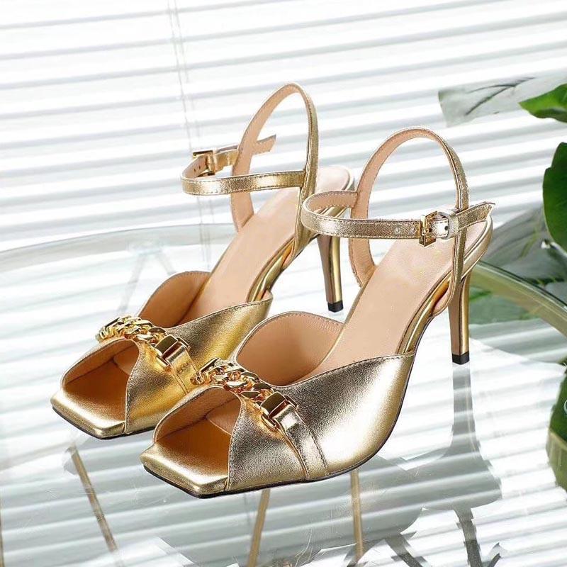Golden Summer Sandals Sandals Mode Stiletto Talons Cuir Metal Poisson Poisson Ouvert Toe Designer Banquet Chaussures de bureau Formel Femme