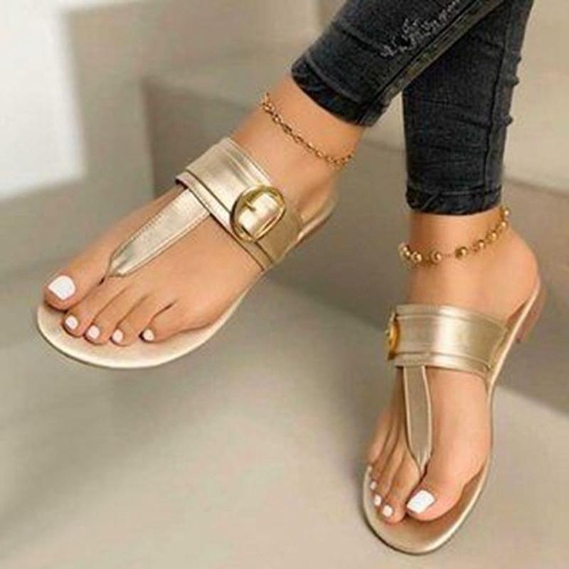 Hausschuhe 2021 Frauen Weibliche Clip Füße Zeh Flache Sandale Mode Damen Sandalen Komfortable Schnalle Outdoor Beach Slipper