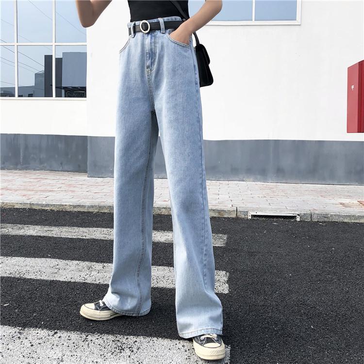 Pantalon long Mesdames Vintage Blue Denim Jeans Femmes Jeans Zipper Straight Boyfriends Style coréen Taille haute W1222