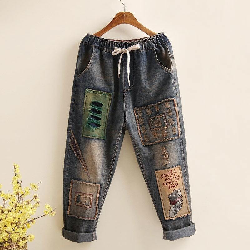 Sanat Stil Patchwork Nakış Gevşek Vintage Kadınlar Jeans Delik Tasarım Elastik Bel Tüm Pamuk Denim Bayanlar Harem Pantolon D101