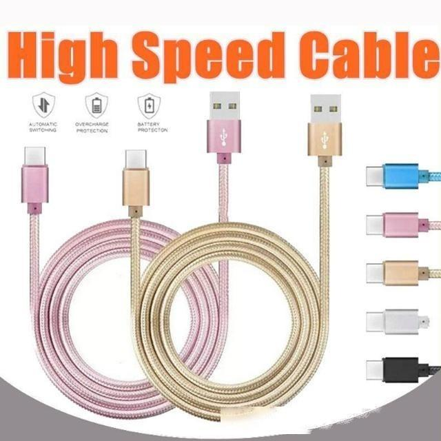 CAGJXS 2020 Caja de metal Micro Micro USB Cable 2A Durable CARGA DE ALTA VELOCIDAD USB Tipo C Tipo C Cable con una vida útil de 10000 curvas para Android Smart