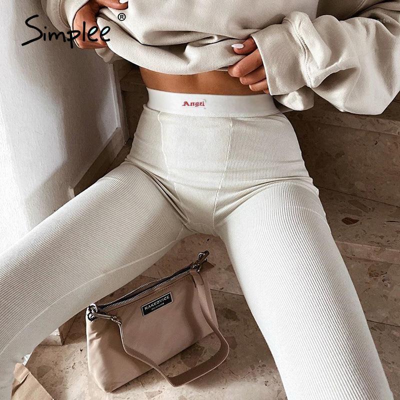 Simple Sexy Branco Feminino Calças apertadas Cintura Alta Calças Casuais Esportes Fitness Cor Sólida Coral de Calvicultura Verão 2020 Novo1