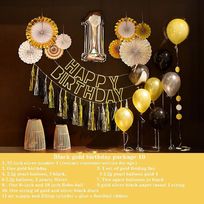 Adulte anniversaire ballon lettre rideau rideau de pluie garçon noir or thème personnalité partie romantique advertisement arrangement 122