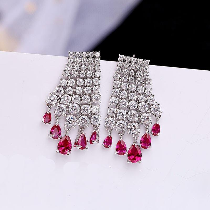 Arbres rouges Marque 2020 NOUVELLES Boucles d'oreilles Cubes Zircnia avec 925 Boucles d'oreilles Sterling Silver Wedding Boucles d'oreilles pour mariées