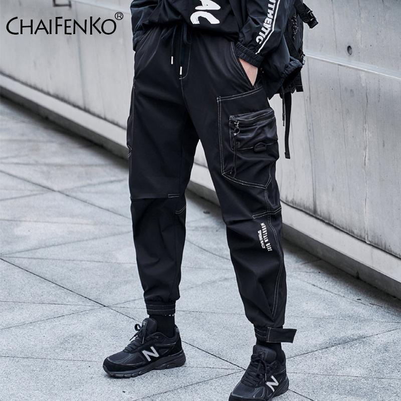 CHAIFENKO Hip Hop Cargo Pants Men Fashion Harajuku Streetwear Men Pants Black Joggers Sweatpant Multi-Pocket Casual Harem Pants X1218