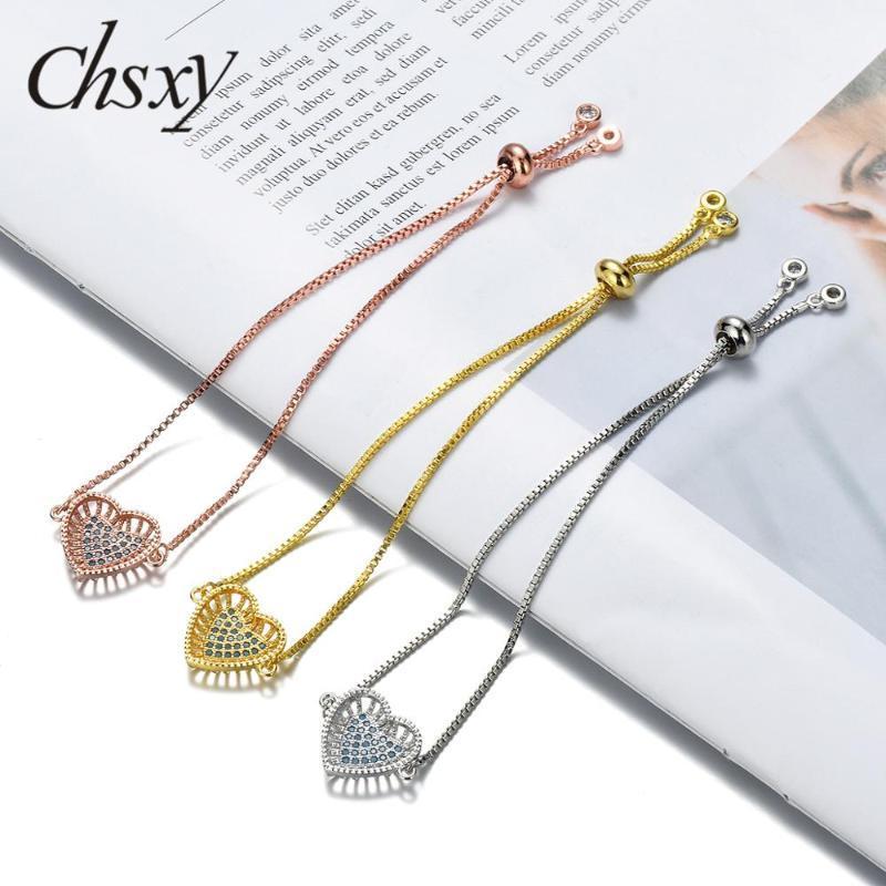 Chsxy 2021 más nuevo diseño amor corazón forma de encanto pulsera austriaco cúbico circón cristal pulsera amantes joyería novia regalo