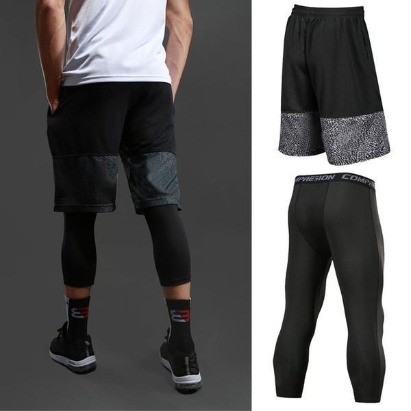 Uomo Pallacanestro Short Set Sport Gym Quick-Dry Workout da allenamento Pantaloncini + collant per calcio maschile in esecuzione fitness yoga short