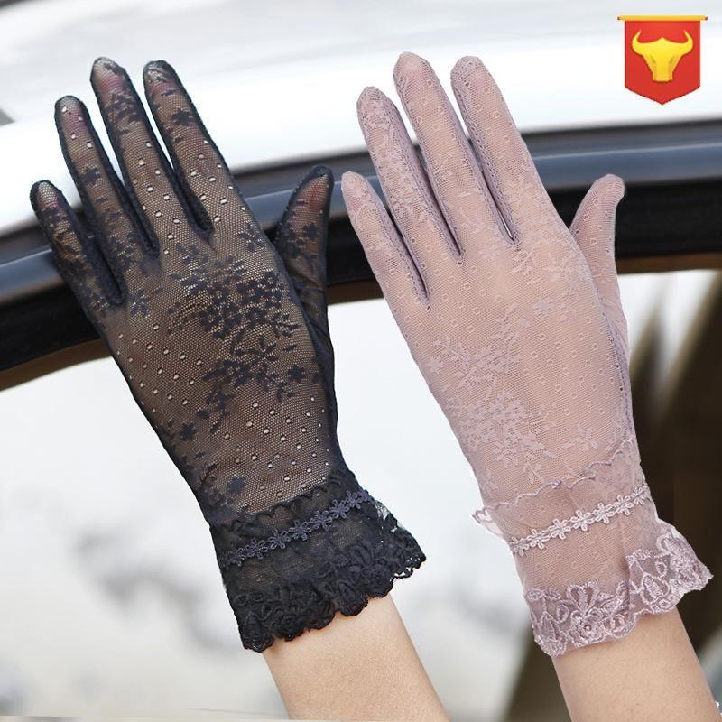 Protetor solar Luvas das mulheres Luvas de Fina Touch Screen Anti-UV fina malha Sexy para Mulheres Goth