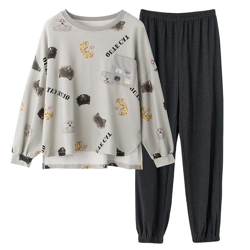 Green Pyjama Anzug für Frauen Schöne Muster Pyjama 100% Baumwolle Kurz Home Wear Special Damen Unterwäsche Schlaf