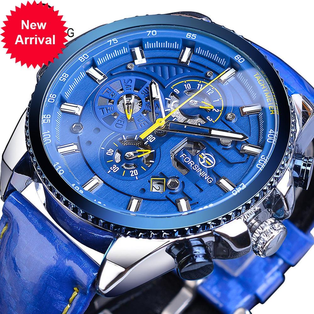 Aflammer Blue Dial Luxury Mens Montres Automatiques Calendrier en acier inoxydable Calendrier imperméable en cuir véritable Horloge mâle mécanique