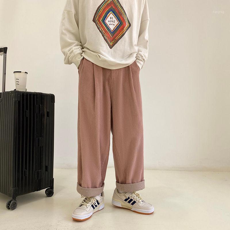 Pantalones para hombres 2021 Hombre suelto Haren Haren Corduroy Baggy Cargo Casual Streetwear Pink / Khaki Color Pantalones S-2XL1