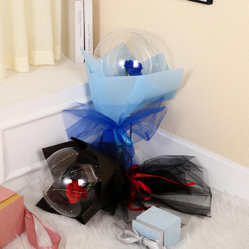 الصمام بالون مضيئة روز باقة شفافة فقاعة روز وامض ضوء بوبو الكرة عيد الحب هدية عيد حفل زفاف ديكور E121802