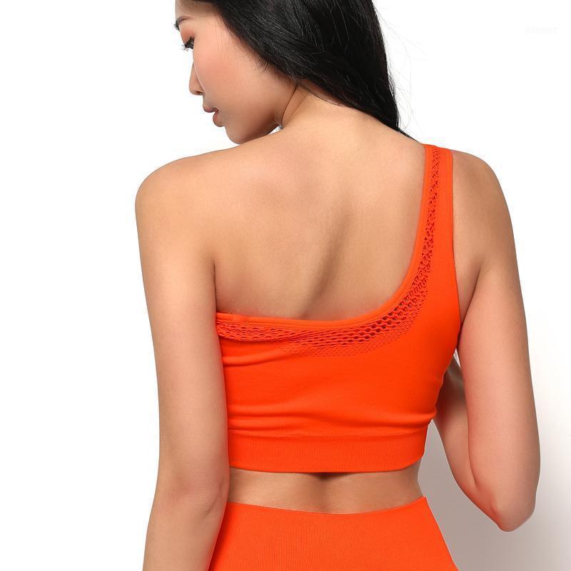 رياضة الملابس عكسها سلس اللياقة البدنية الصدرية الرياضية طبقة مزدوجة تنفس شبكة المرأة مثير واحد الكتف حزام اليوغا bras1