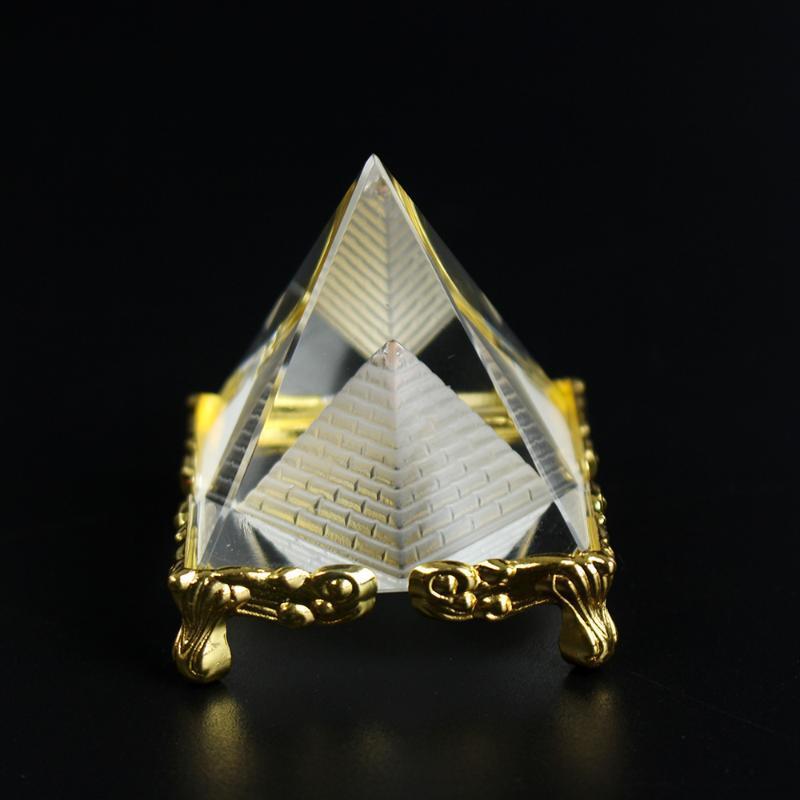 Guarigione Energia Piccolo Feng Shui Egitto Egitto Crystal Clear Clear Pyramid Ornament Home Decor Soggiorno Decorazione soggiorno