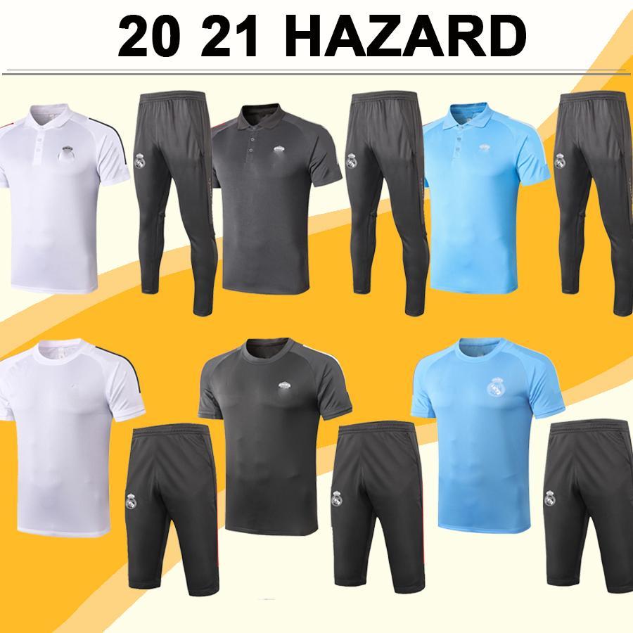 19 20 Kit de maillots de football du Real Madrid Nouveau Nouveau MARIANO KROOS BENZEMA BALLE MODRIC MARCELO Rouge Noir Gris Blanc Maillot de football pantalon Haut