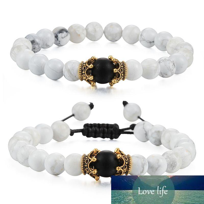 Yin Yang Doğal Taş Beyaz Boncuk Çift Kral Kraliçe Taç Bilezik Erkekler Kadınlar Bilezik Bilezikler Enerji Şifa Yoga Takı Hediye