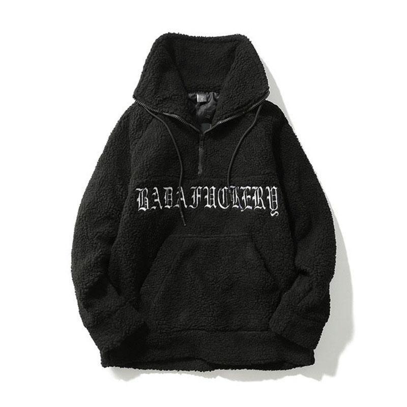 Mâle Sweat-shirt Lettre Plus Sweatshirts Velvet Couple Pull Pullover Fashion High Street Streetwear Casual Hiver