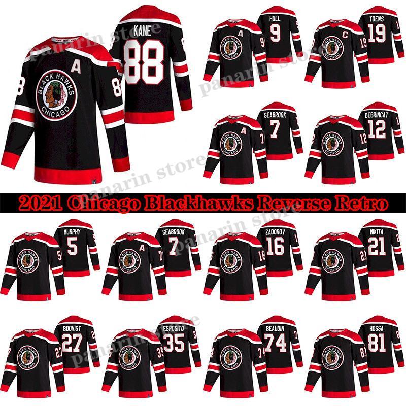 Chicago Blackhawks Jersey 2020-21 Reverse Retro 19 Jonathan Toovs 88 Patrick Kane 00 Clark Griswold 12 Alex Debrincat 2 Keith Hockey Jerseys
