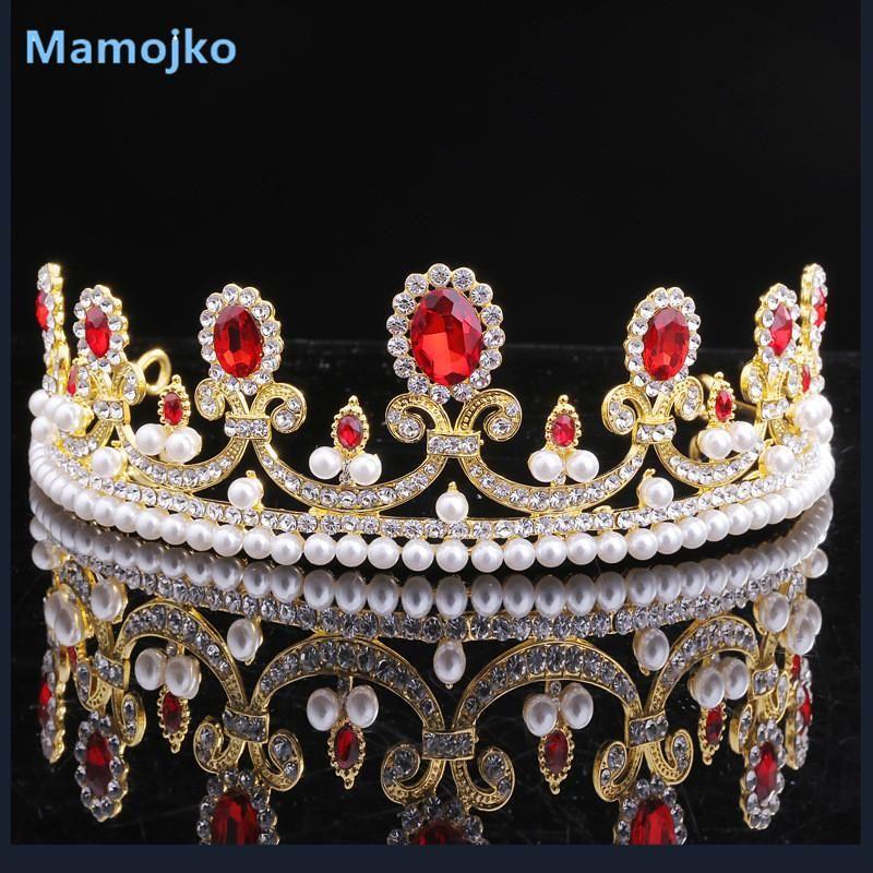 Mamojko 3 colori Baroque Bianco Blu Red Crystal Crown Corona Diadem Fashion Pearl Bridal Tiara Corona Accessori per capelli