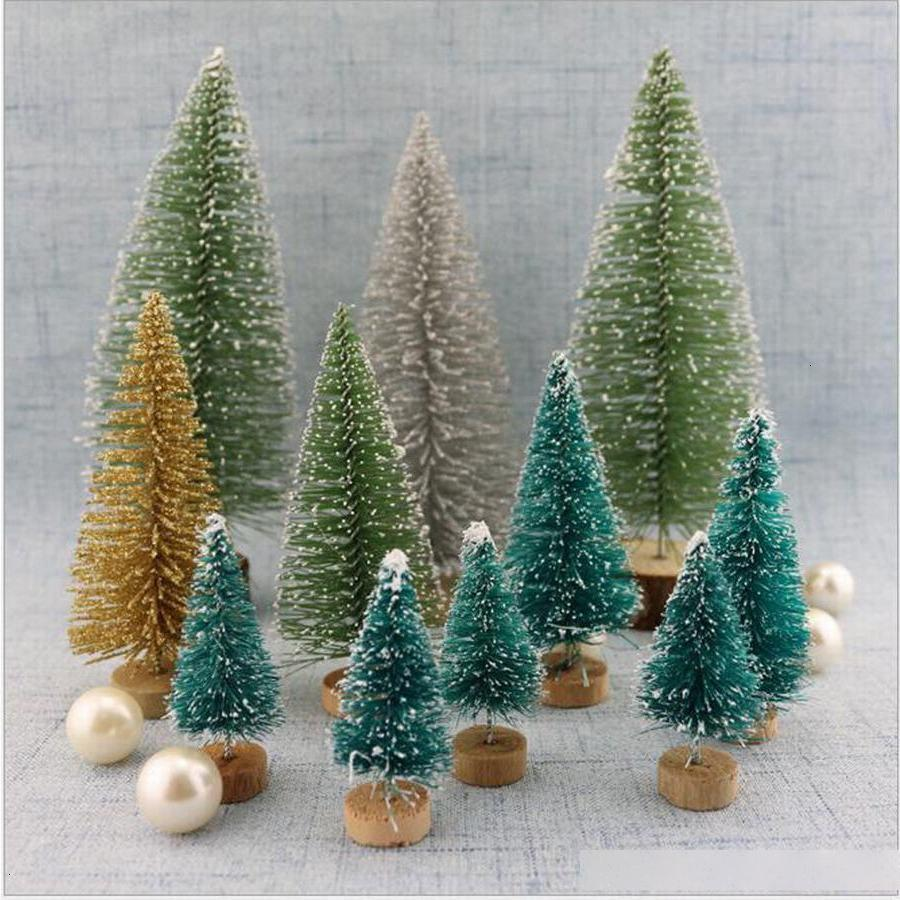 Sisal seda cedro 12 pçs / lote decoração pequena árvore - ouro prata azul verde branco mini casa decorat avkz