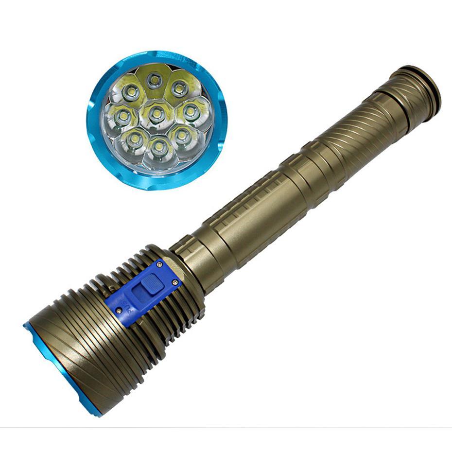 CREE XM-L T6 9 LED 8000 lumens torcia da immersione torcia portatile 9led torcia luce impermeabile subacquea 3x26650 o 18650 batteria DX9