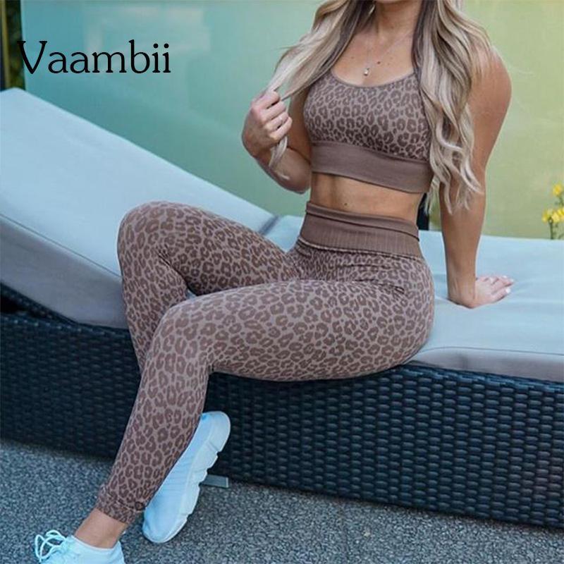 Leopardo para mujer Traje de fitness sin fisuras deportivas Gimnasio Ropa de entrenamiento para mujeres Traje de 2 piezas Conjunto de yoga Conjuntos de yoga Trajes para mujer