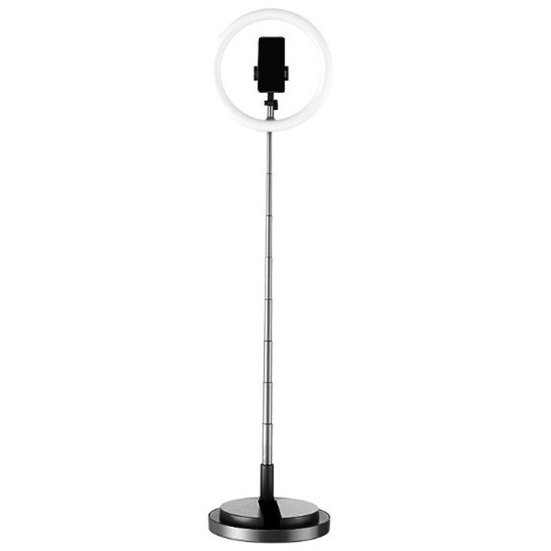 Luz do anel de Selfie com suporte dobrável do suporte do telefone do suporte Luz do diodo emissor de luz, iluminação ao vivo Brilho ajustável preto