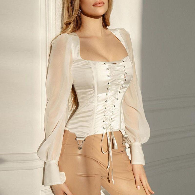 Fantoye новая кружевная сетка бокового рукава блузка сексуальная женская тощая повязка бандаж атласная рубашка Франхим женский старинный бодиконку вершины белый 2021 C0129