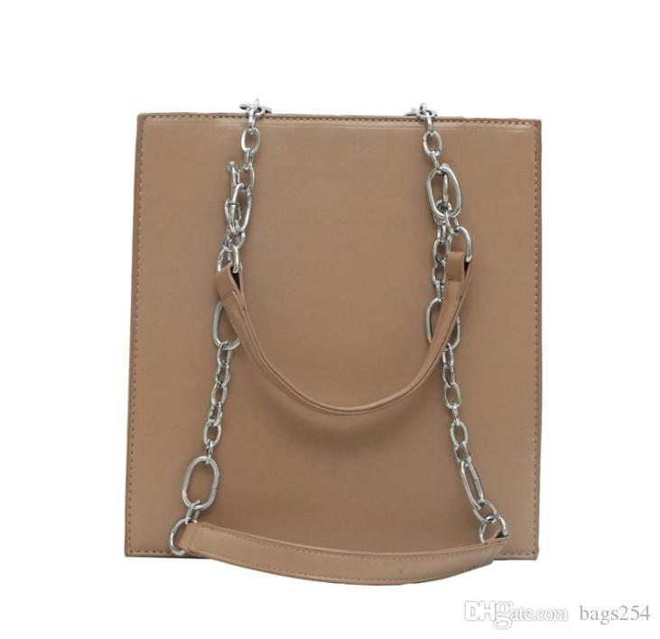 Bolsas de hombro de cadena de rectángulo para mujeres Bolsos de cucharón de gran capacidad de alta calidad bolsas de asas de cuero