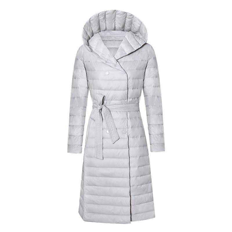 Women Plus Size White Duck Down Jacket New Winter Slim With Belt Hooded Long Down Coats Female Warm Thin Outwear Fashion Parkas 210203