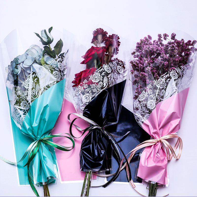 50 ADET Yeni Buket Hediye Çanta Kolları Ile Şeffaf Su Geçirmez Çok Çanta Çiçek Çantası Hediye Çiçek Paketleme Malzemesi Küçük