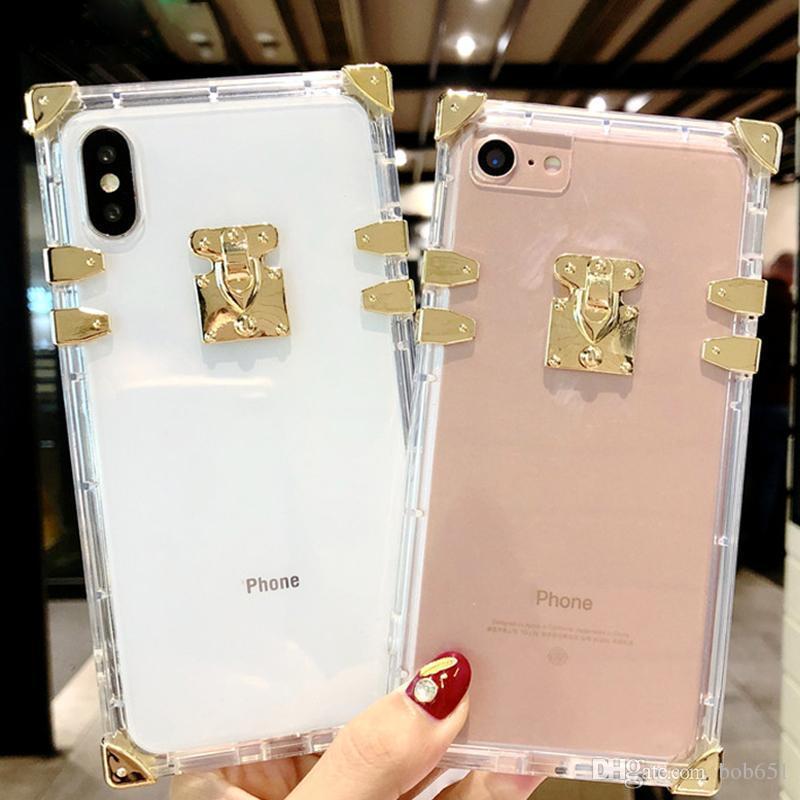 아이폰 12 11 Pro Max XR XS Bling 금속 클리어 크리스탈 커버에 대한 광장 클리어 전화 케이스 아이폰 8 7 6 플러스