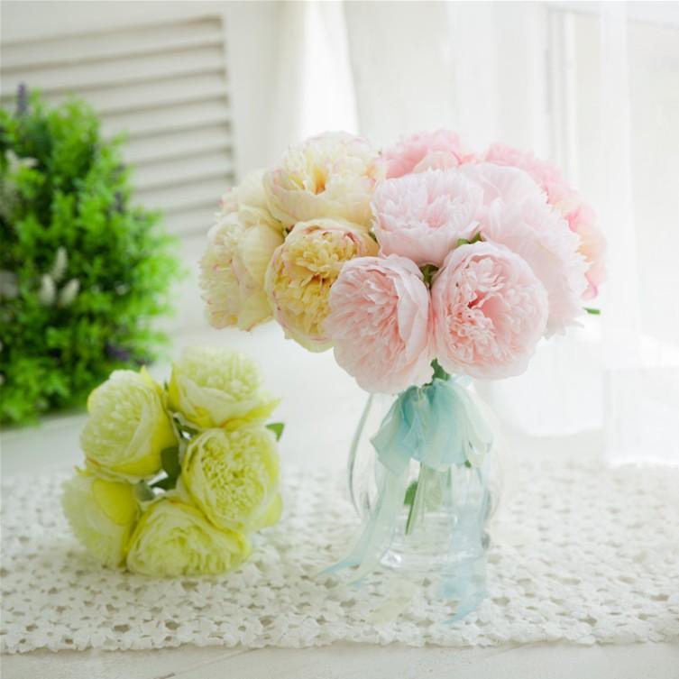 Five peonies hand tied peonies bouquet manufacturer direct Selling European wedding hand held flowers home decoration 5 peonies
