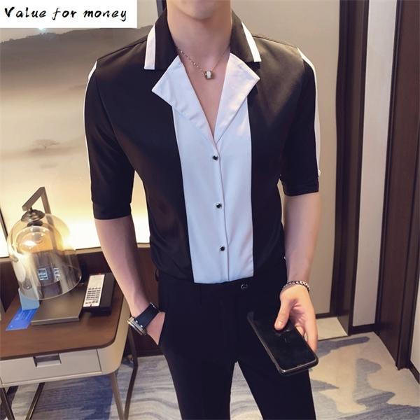 Noite 2020 Clube Verão Moda Patchwork Streetwear Social Blusa Camisa Masculina Casual Slim Fit Homens Vestido Camisas C1210
